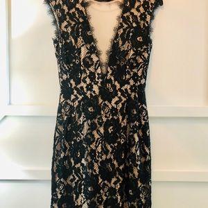 Aidan mattox black lace open back dress